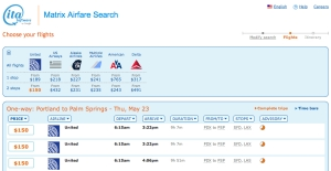 ITA's website makes searching multiple airlines' airfares easy.