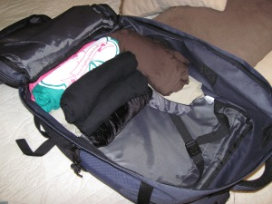 The rolled clothes take up only about 1/3 of my pack.