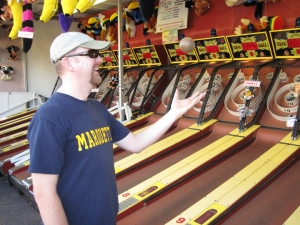 Skeeball is a must for us at the fair!