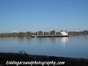 Cargo ship in the channel - Can you see Mt. Rainier waaaay offf to the left peeking out?