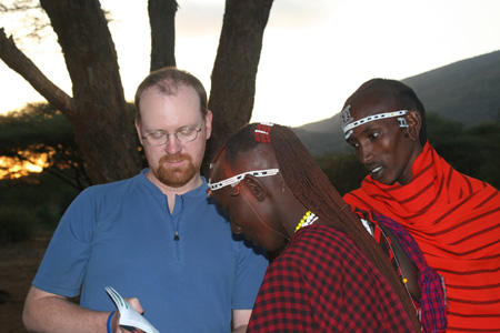 Practicing Swahili and English with Maasai warriors