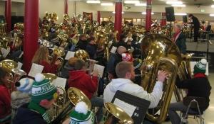 Portland Tuba Christmas rehearsal