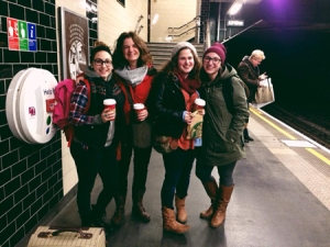 Sisters Meghan, Emily and Sarah with Mama Shannon waiting for the Underground