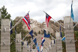 Flagged entryway to Mt. Rushmore - one flag for every US state.