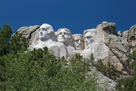 Clear blue skies above Mt. Rushmore National Monument
