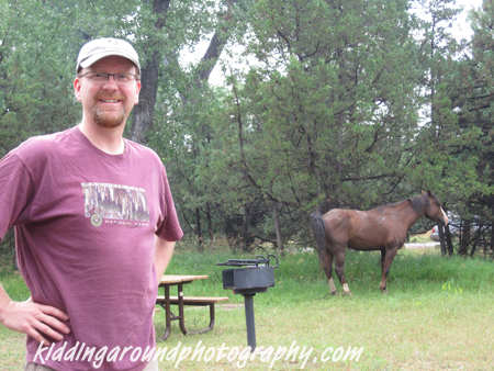 Yes, that is a WILD horse in our campsite (on the right!)