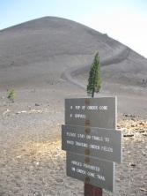 Lassen's Cinder cone rises about 850 ft (260 m)