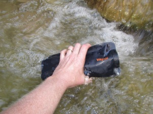 Filling the Vapur Anti-Bottle in a stream