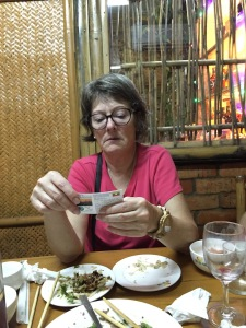 Our friend Vickie using her Travel Cards on a trip to Myanmar.
