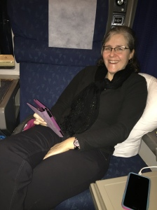 Erin lounging in our Roomette