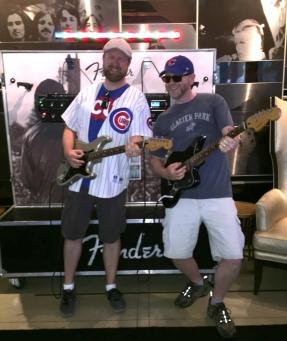 Having fun in the lobby of the Hard Rock Hotel